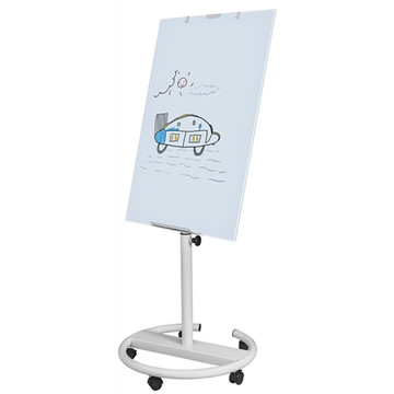 Round based magnetic mobile flipchart easel for office