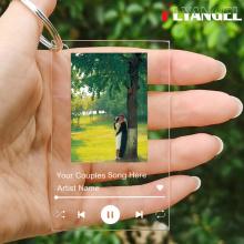 FLYANGEL Customize Album Cover,Couple Photo,Acrylic Keychain,Music Plaque Keyring,Your Favorite Song Memorabilia,Christmas Gift