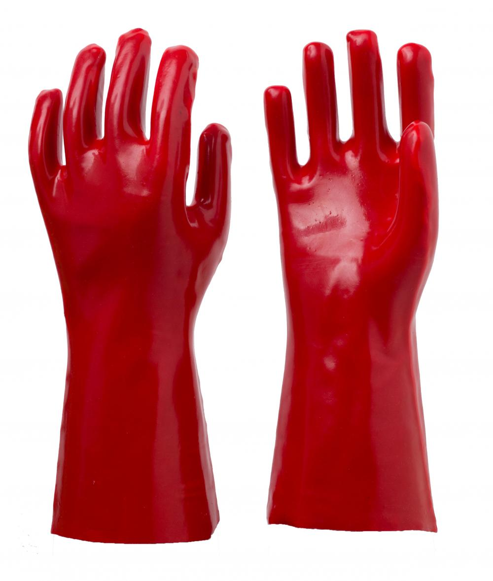 Red pvc coated gloves cotton linning