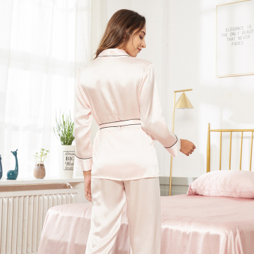 Silk Robe Pajama Set Sleepwear With Belt
