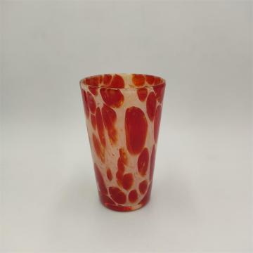Swirl white and red highball glass