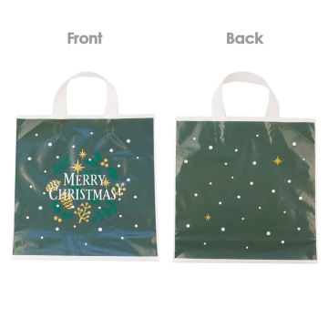 Christmas Green Thin Plastic Shooping Bags