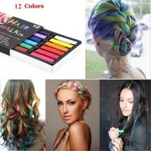 New Non-toxic Soft Hair Crayons Pastel Kit 12 Colors Dye Hair Powdery Cake Temporary Hair Chalk 2018 DIY Hair Salon Kit Tools