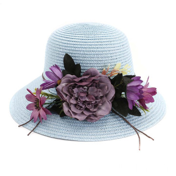 Large flower design retro handy summer straw hat