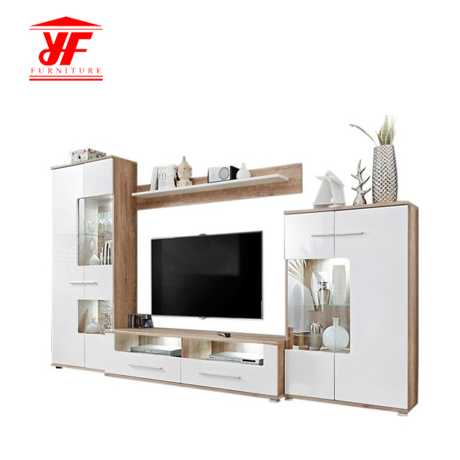White Modern Wood TV Stand Cabinet Set