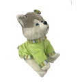 Plush Sitting Dog Wearing Clothes