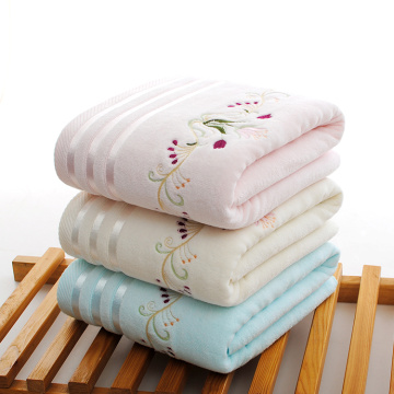towel with beautiful flower embroidery