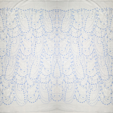 Blue and White Lace Embroidery Fabric