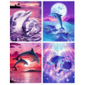 GATYZTORY 60x75cm Dolphin DIY Painting By Numbers HandPainted Animal Oil Painting Canvas Colouring Unique Gift Home Decor