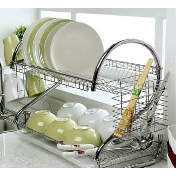 dish drain rack next to the sink