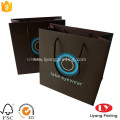 Black customized paper shopping bag with handle