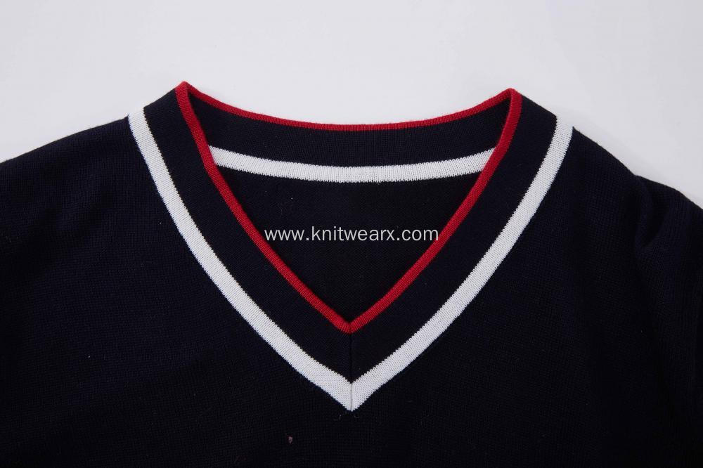 Boy's Knitted Cotton V-Neck Pullover
