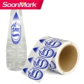 Custom self adhesive clear bopp water bottle label