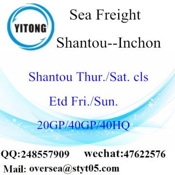 Shantou Port Sea Freight Shipping To Inchon