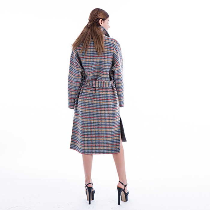 Coloured checked cashmere winter coat