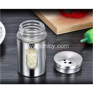 Stainless Steel Revolving Glass Seasoning Pot For Restaurant