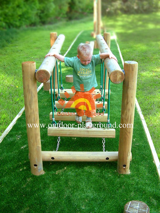 Wooden-rope balance bridge park for children