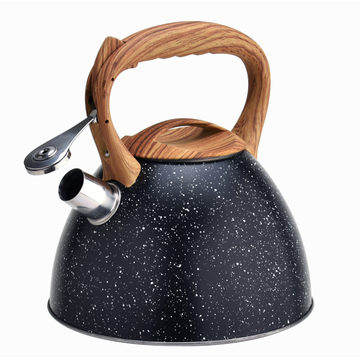 Woodlike handle marble stainless steel coffee tea kettle