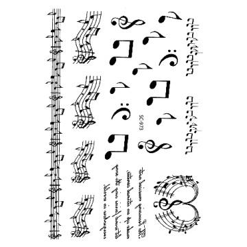 Rocooart Black White Music Notes Waterproof Temporary Tattoo Sticker Sketch Fake Tattoo Tatouage For Women Men Flash Tatoo Taty