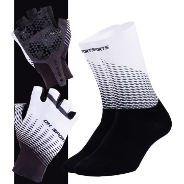 1 Pair Half Finger Cycling Gloves With 1Pair Cycling Socks Men Women Anit Slip Sports Bike Gloves Racing Bicycle Socks Set