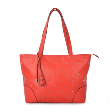 Catalina Leather Shoulder Bag Handcrafted Tote in Red