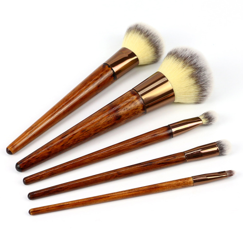 Cosmetic Brush With Wood Color Handle