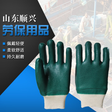 Green rubber Sandy finish gloves Jersey liner