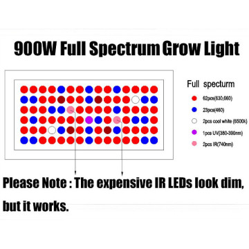 Maualuga maualuga le PPFD ile aluminium ile Greenhouse LED Grow Light