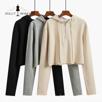 Fashion Oversized Plain Womens Short Sweatshirts Pullover Hoodies