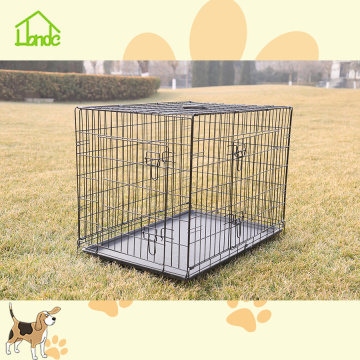 Wire welded black folding pet crate with tray