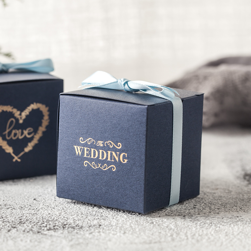 Wedding square candy box with ribbon