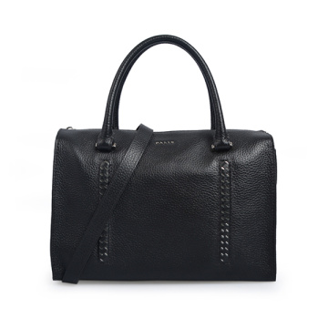 Medium Leather Barrel Bag Boston Bag Black Satchel