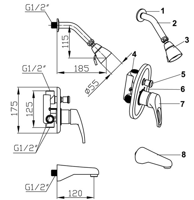 drawing for Concealed bathtub shower mixer