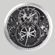 Silver Clock with Moving Gear for Wall Decoration