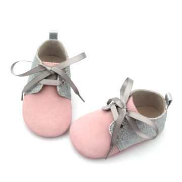 Grey Glitter Leather Baby Oxford Shoes