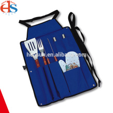 6pcs Bbq Camping Grilling Tool Set with Apron