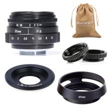 Mini 35mm f/1.6 APS-C CCTV Lens+adapter ring+2 Macro Ring+lens hood for P anasonic/O lympus Micro4/3 M4/3 Mirroless Camera
