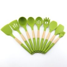 9PCS Beech Wood Silicone Kitchen Utensils Set