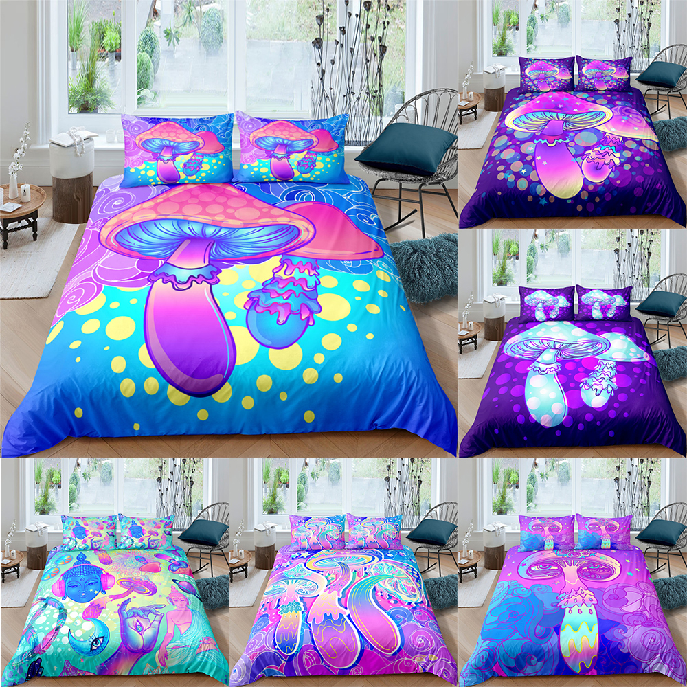 Bedding Set 2/3Pcs Comforter Bedding Set Colorful Shiitake Mushrooms Bed Set Duvet Cover and Pillowcase For Home textiles