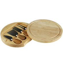 RUBBER WOOD CHEESE BOARD AND KNIFE SET