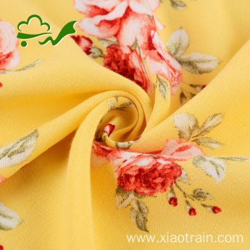 Printed flower woven plain crepe viscose rayon fabric