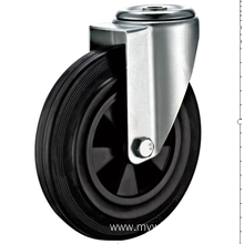 160mm European industrial rubber  swivel caster without brake