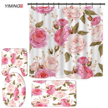 180x180 bathroom shower curtain set 3D pink rose flower printing non-slip carpet floor cushion toilet cover shower curtain set