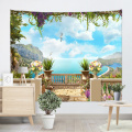 Sea View Flower Tapestry Seagull Mountain Wall Hanging Blue Spring Tapestry Tropical Style Tapestry for Bedroom Home Dorm Decor
