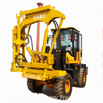 Highway road guardrail pile driver with drilling function