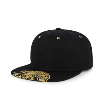 Custom design gold metallic embroidery snapback cap