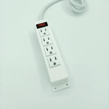 White 4 Sockets Surface Power Outlet