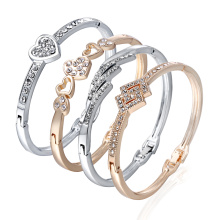 12 Styles Love Heart Bracelets Screw Bangles Women Stainless Steel Bracelet Bangle Inlay Rhinestone Jewelry Gift
