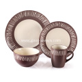 16 Pieces Stoneware Dinnerware Set , Brwon & White