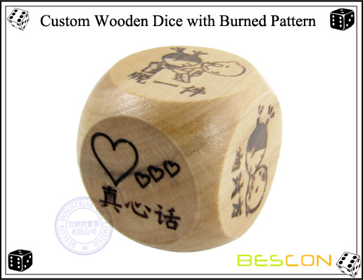 Custom Wooden Dice with Burned Pattern